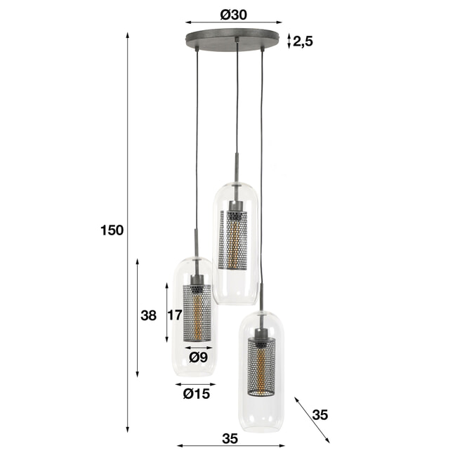 Glazen Hanglamp 'Ossie' 3-lamps