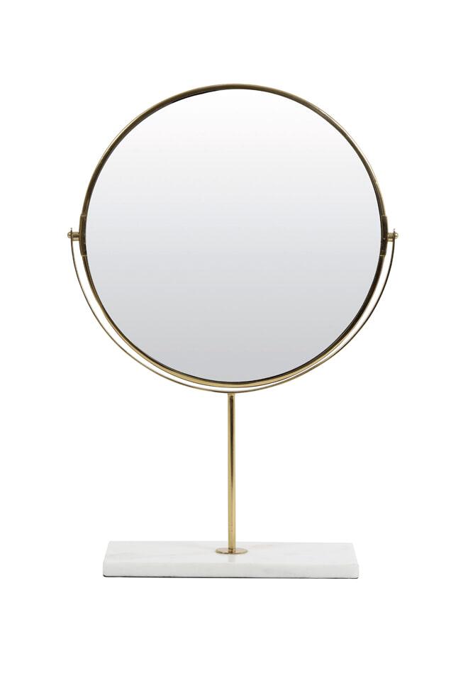 Light & Living Spiegel 'Riesco' op voet, marmer wit-goud