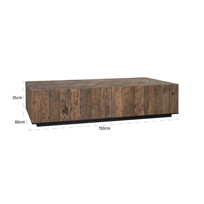 Richmond Salontafel 'Herringbone' Eikenhout en Staal, 150 x 80cm