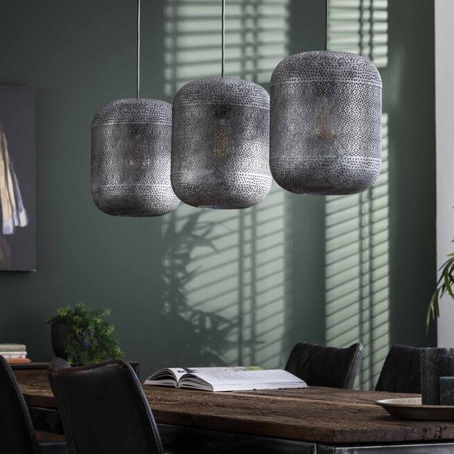 Hanglamp 'Vickie' Oud zilver, 3-lamps