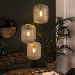Hanglamp 'Vickie' Oud zilver, 3-lamps getrapt