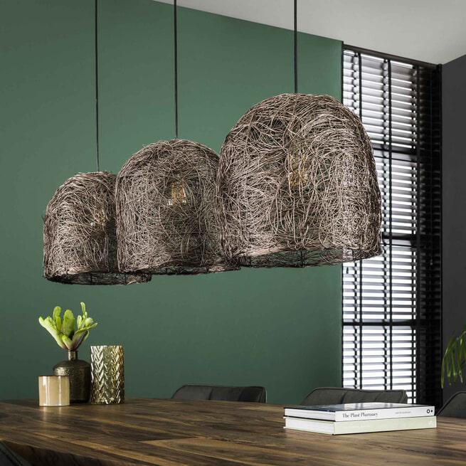 Hanglamp 'Ana' 3-lamps, Antiek Koper Finish