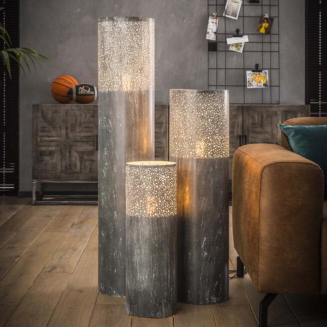 Vloerlamp 'Karel', Metaal, 60cm, kleur Grijs
