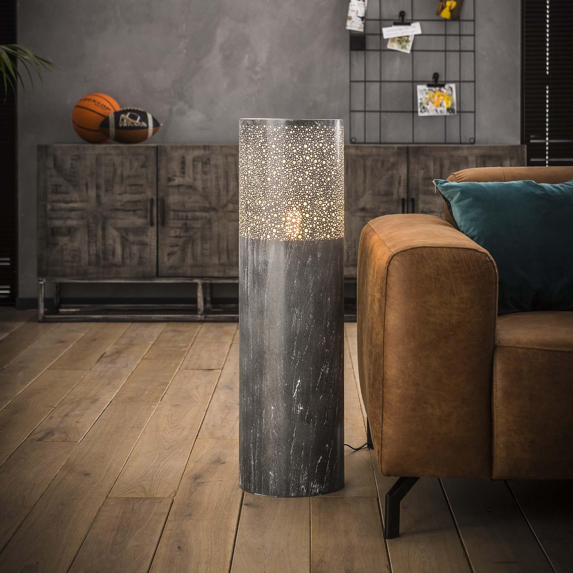Vloerlamp 'Mohanlal', Metaal, 90cm, kleur Grijs