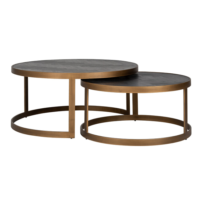Richmond Ronde Salontafel 'Blackbone' Brass, set van 2