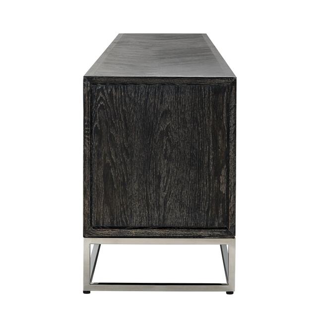 Richmond TV-meubel 'Blackbone' Eikenhout en Staal, kleur Zwart / Zilver, 220cm