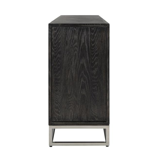 Richmond Dressoir 'Blackbone' Eikenhout en Staal, kleur Zwart / Zilver, 225cm