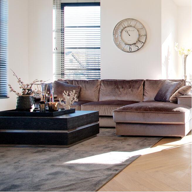Richmond Salontafel 'Blackbone' Eikenhout en Staal kleur Zwart en Zilver, 90 x 90cm