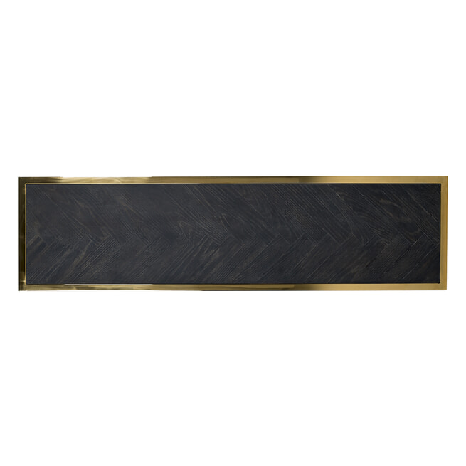 Richmond Sidetable 'Blackbone' Eikenhout en Staal, kleur Zwart / Goud, 150cm