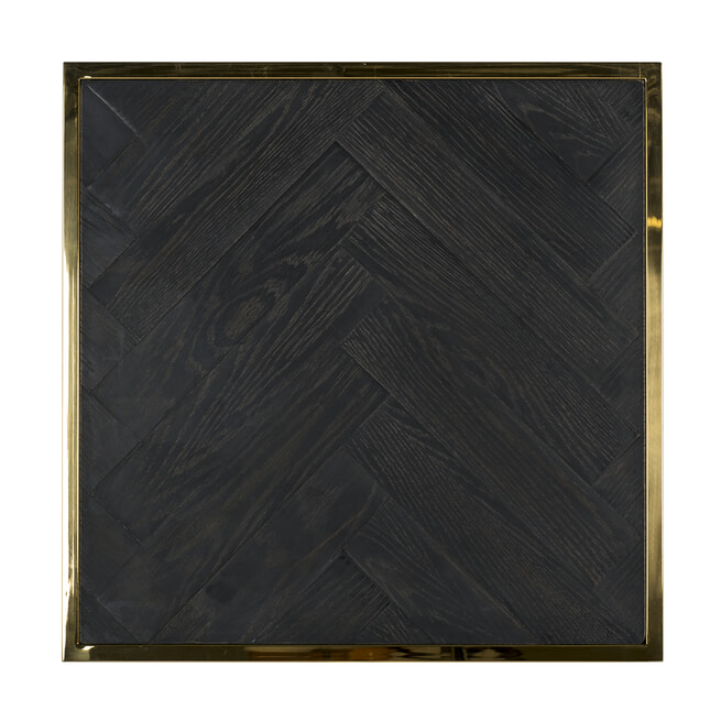 Richmond Bijzettafel 'Blackbone' Eikenhout en Staal, kleur Zwart / Goud, 50 x 50cm