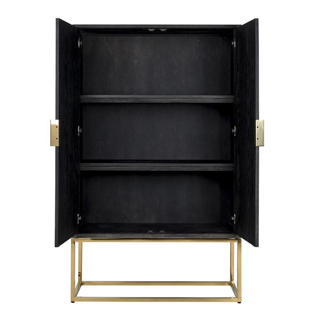 Richmond Opbergkast 'Blackbone' Eiken, kleur Zwart / Goud