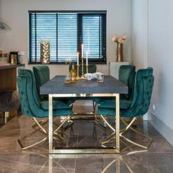 Richmond Uitschuifbare Eettafel 'Blackbone' Gold, 195-265 x 100cm