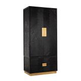 Richmond Kledingkast 'Blackbone' Eiken, kleur Zwart / Goud
