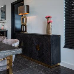 Richmond Dressoir 'Blackbone' Eiken, kleur Zwart / Goud, 160cm