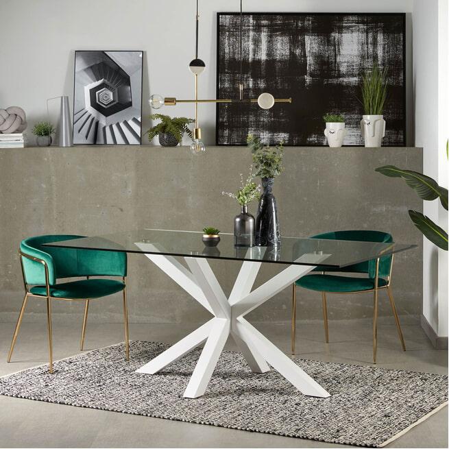 Kave Home Eettafel 'Argo' kleur Wit/Glas