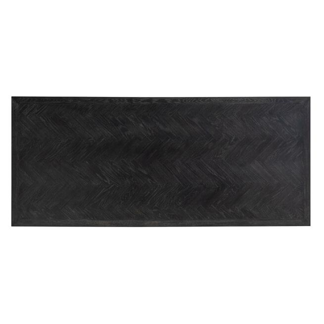 Richmond Eettafel 'Blackbone' Matrix, Eiken, kleur Zwart / Goud, 240 x 100cm