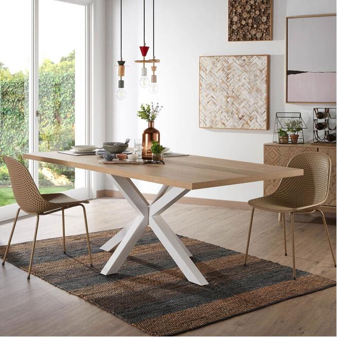 Kave Home Eettafel 'Argo' kleur Wit/Eiken