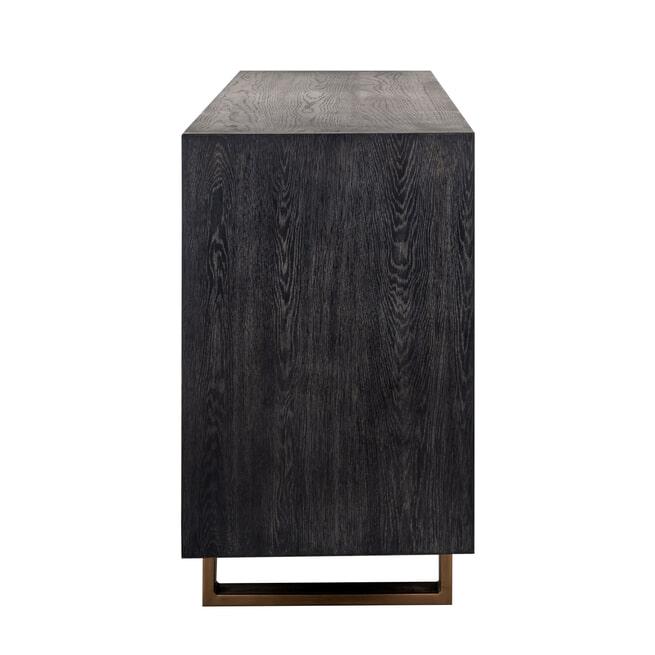 Richmond Dressoir 'Hunter' Eiken, kleur Zwart / Goud, 220cm
