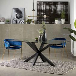 Kave Home Glazen eettafel 'Argo' met zwart onderstel