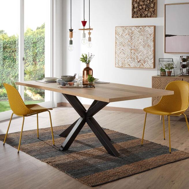 Kave Home Eettafel 'Argo' kleur Zwart/Eiken