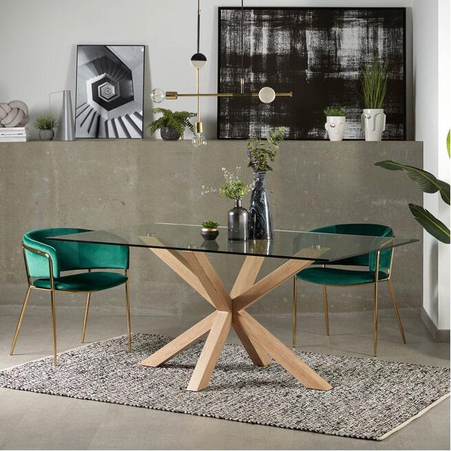 Kave Home Eettafel 'Argo' kleur Eiken/Glas
