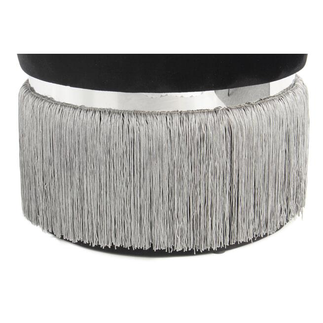 Kayoom Poef 'Rebecca' Velvet met franjes, 41cm, kleur zwart / grijs
