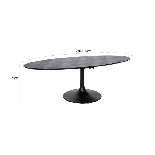 Richmond Ovale Eettafel 'Blax' Eiken en Staal, 230 x 100cm