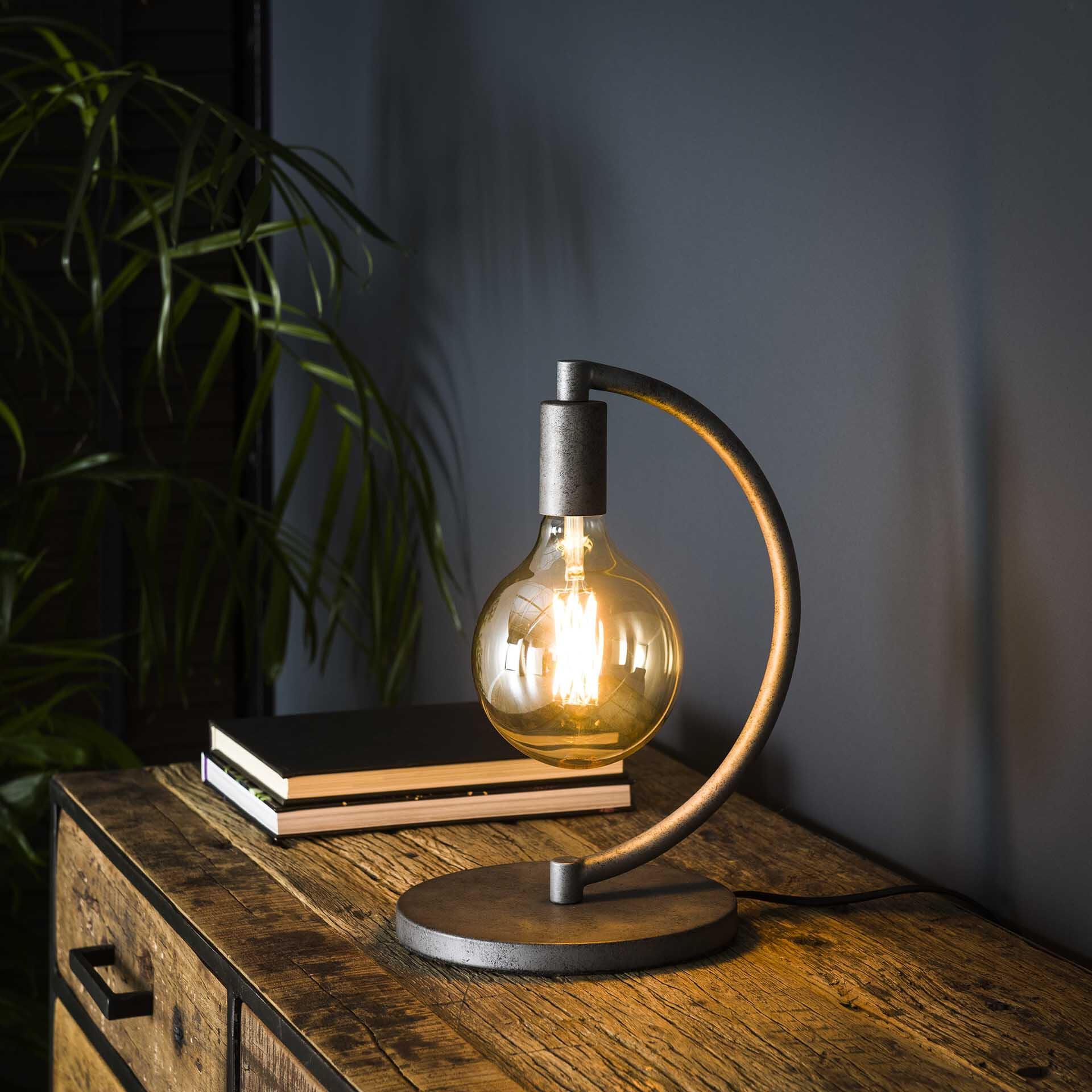 Tafellamp 'Cynthia' Ø125mm, kleur Oud Zilver