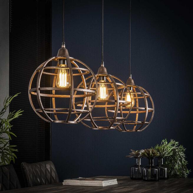 Hanglamp 'Tatsuya' (Keri) 3-lamps, antiek koper