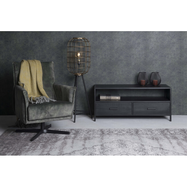 LivingFurn TV-meubel 'Kala' Mangohout en staal