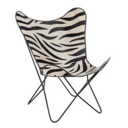 J-Line Vlinderstoel 'Blondina' Zebra, kleur Zwart / Wit