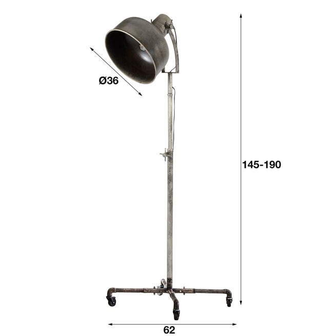 Industriële Vloerlamp 'Maisie' op wielen