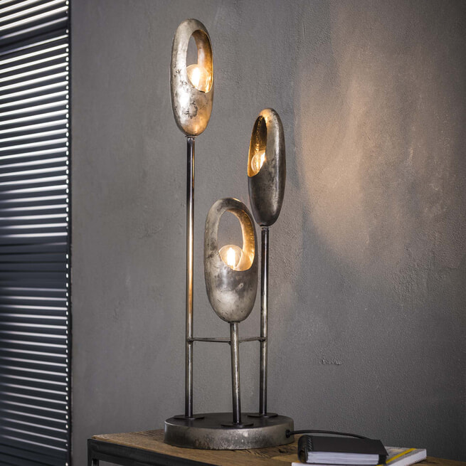 Tafellamp 'Loretta', 3-lamps, 69cm, kleur Oud Zilver
