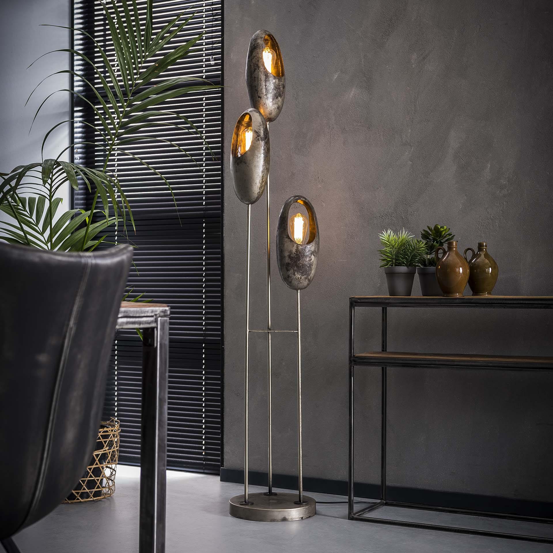 Vloerlamp 'Julianna', Metaal, 3-lamp, 170cm, kleur Oud Zilver