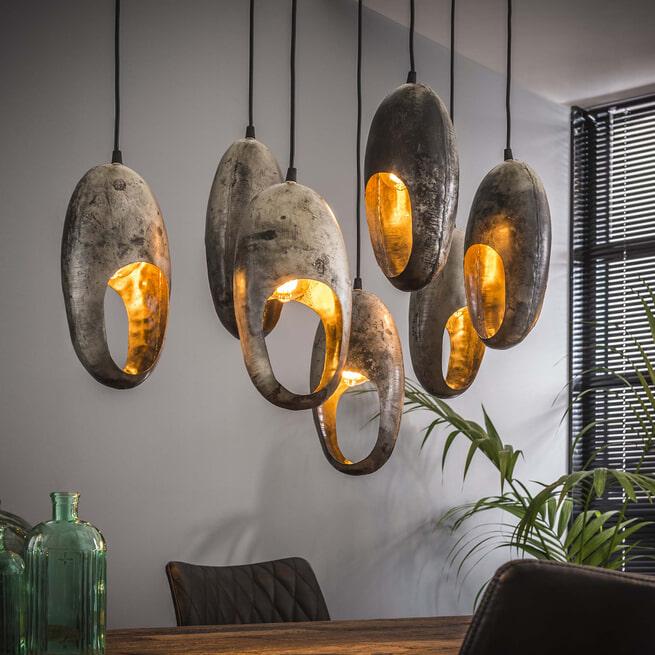 Hanglamp 'Nichole', Metaal, 7-lamps, 90cm, kleur Oud Zilver