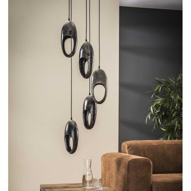Hanglamp 'Krystal', 5-lamps, kleur Oud Zilver