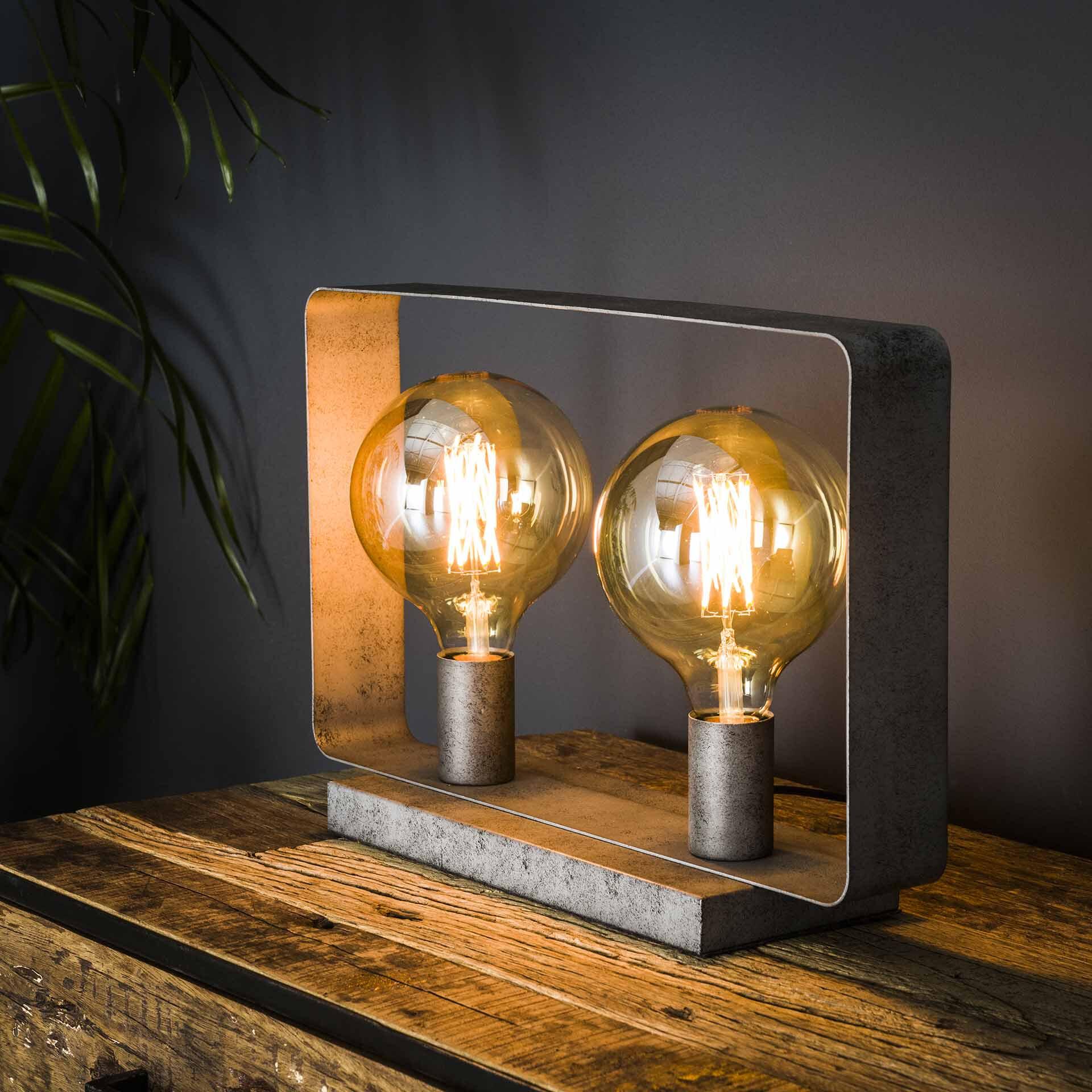 Tafellamp 'Brittany' 2-lamps, kleur Oud Zilver