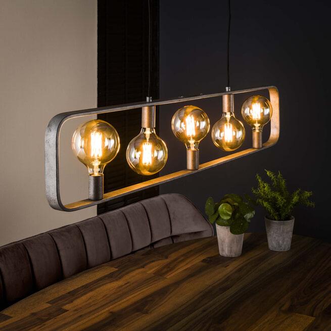 Hanglamp 'Brittany' 5-lamps, kleur Oud Zilver