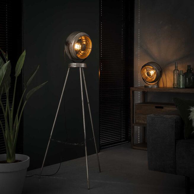 Industriële Vloerlamp 'Annabella' kleur oud zilver