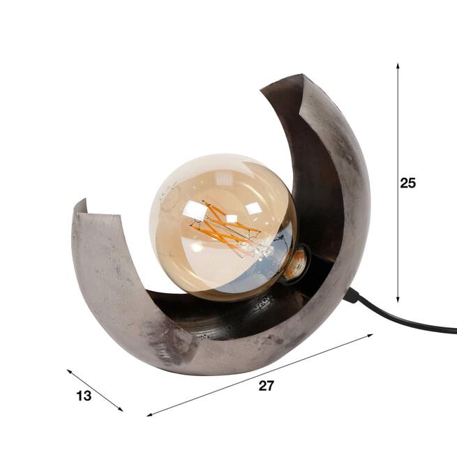 Tafellamp 'Kari' Half Moon, kleur Oud Zilver