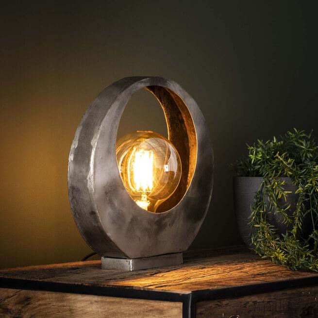 Tafellamp 'Kari' Full Moon, kleur Oud Zilver