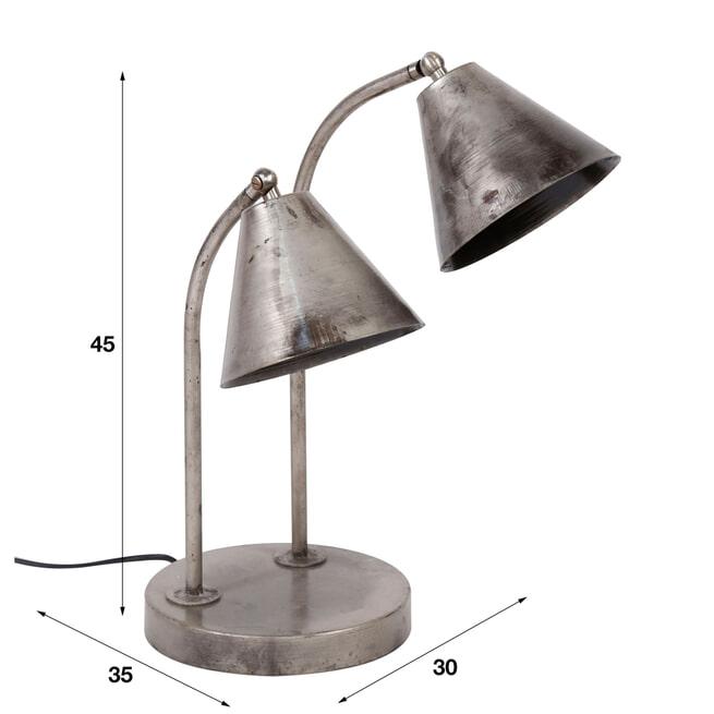 Tafellamp 'Meagan' 2-lamps, kleur Oud Zilver