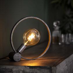 Tafellamp 'Shawn' Oud zilver, Ø30cm