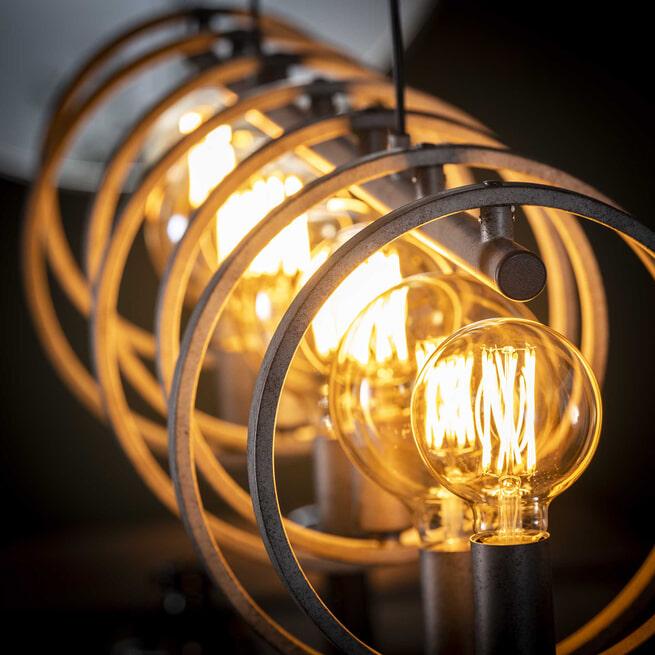 Hanglamp 'Shawn' Oud zilver, 7-lamps