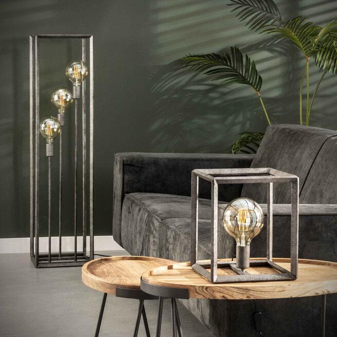 Vloerlamp 'Janice' Oud zilver, 3-lamps