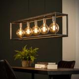 Hanglamp 'Janice' Oud zilver, 5-lamps