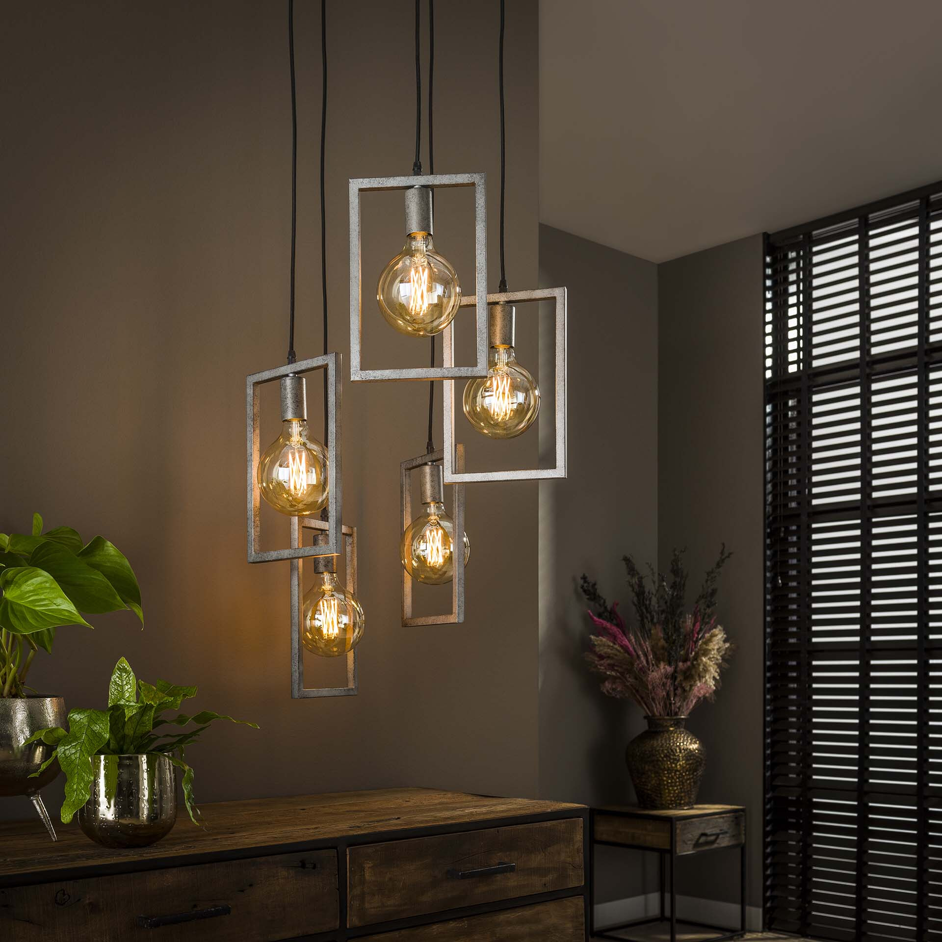 Hanglamp 'Danielle' Oud zilver, 5-lamps getrapt