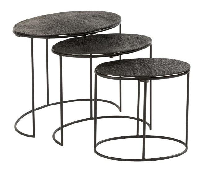 J-Line Bijzettafel 'Ingeborg' Set van 3 stuks, kleur Zwart