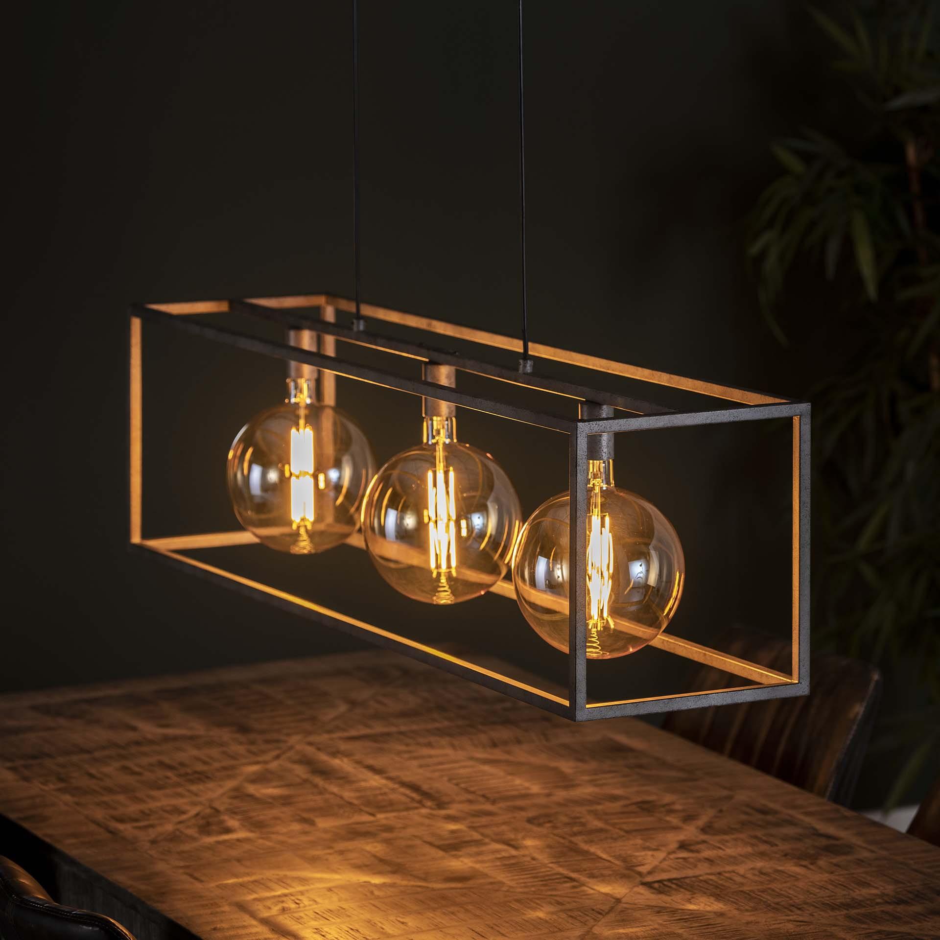 Hanglamp 'Lora' Oud zilver, 3-lamps