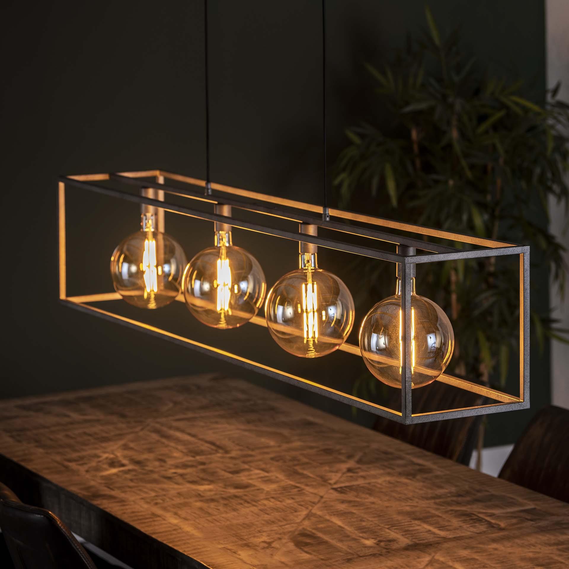 Hanglamp 'Lora' Oud zilver, 4-lamps